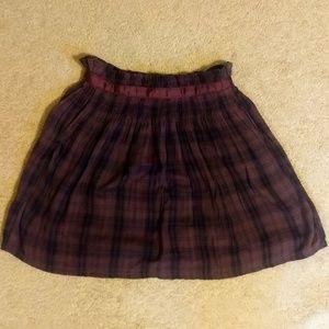 Anthropologie cotton plaid skirt sz small